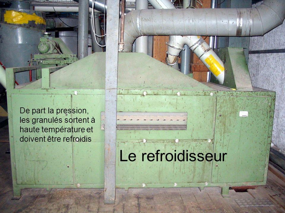 De part la pression, les granulés sortent à haute température et doivent être refroidis