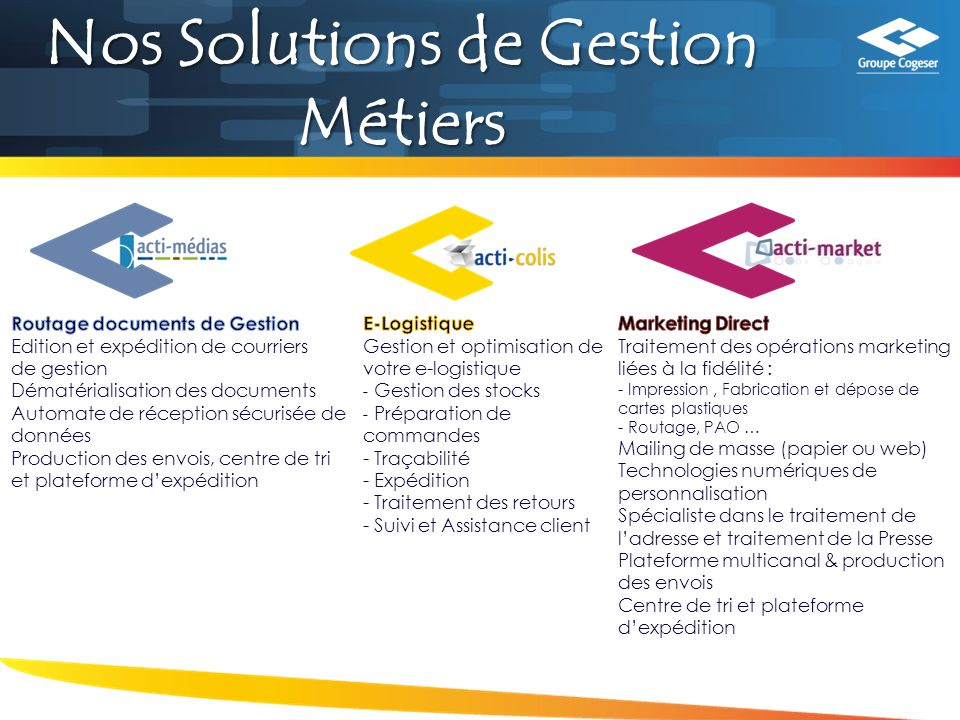 Nos Solutions de Gestion