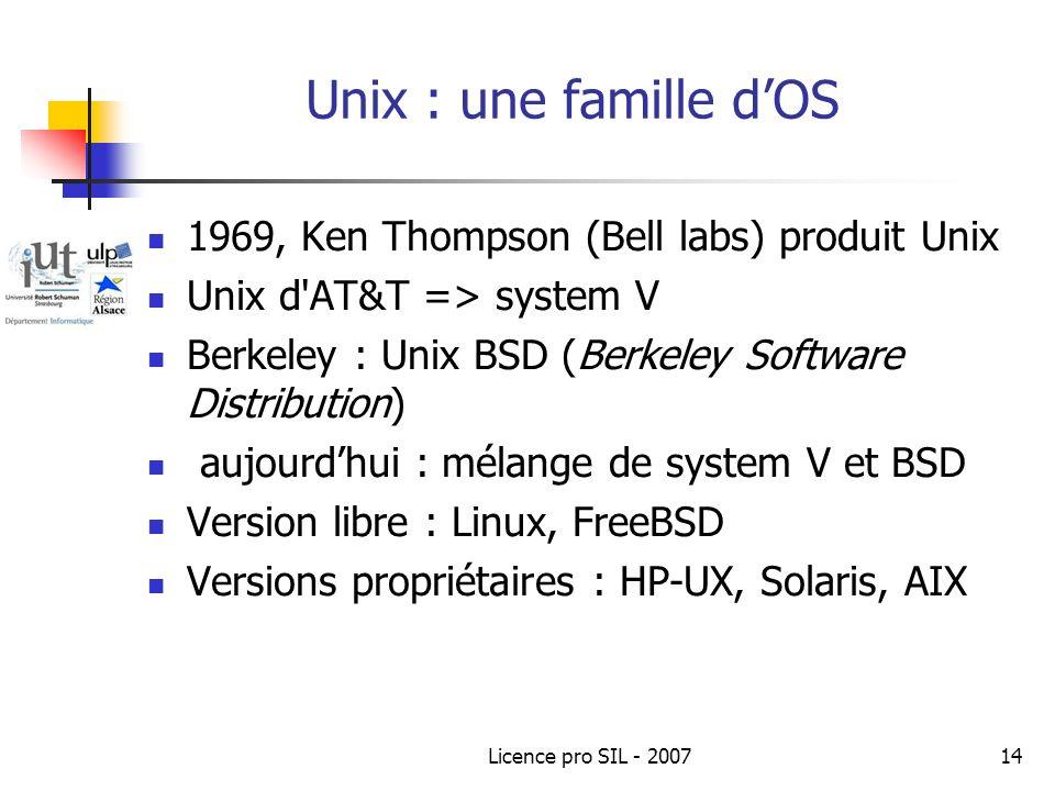 Unix : une famille d'OS 1969, Ken Thompson (Bell labs) produit Unix