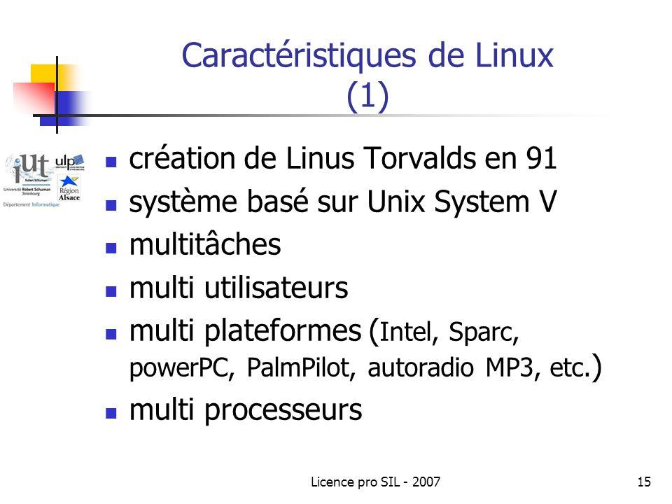 Caractéristiques de Linux (1)