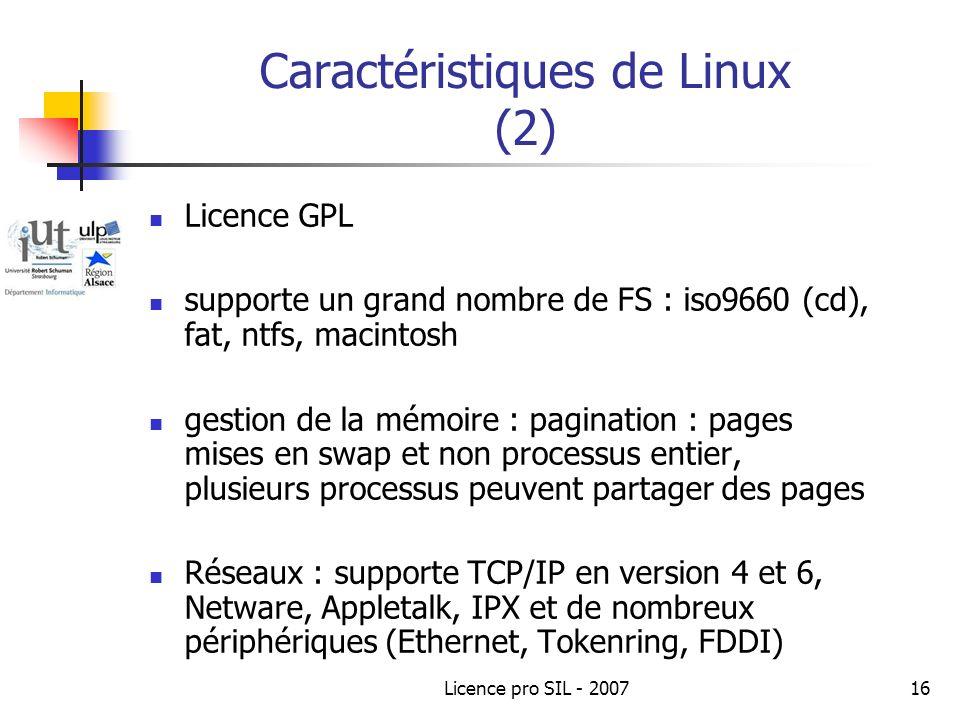 Caractéristiques de Linux (2)