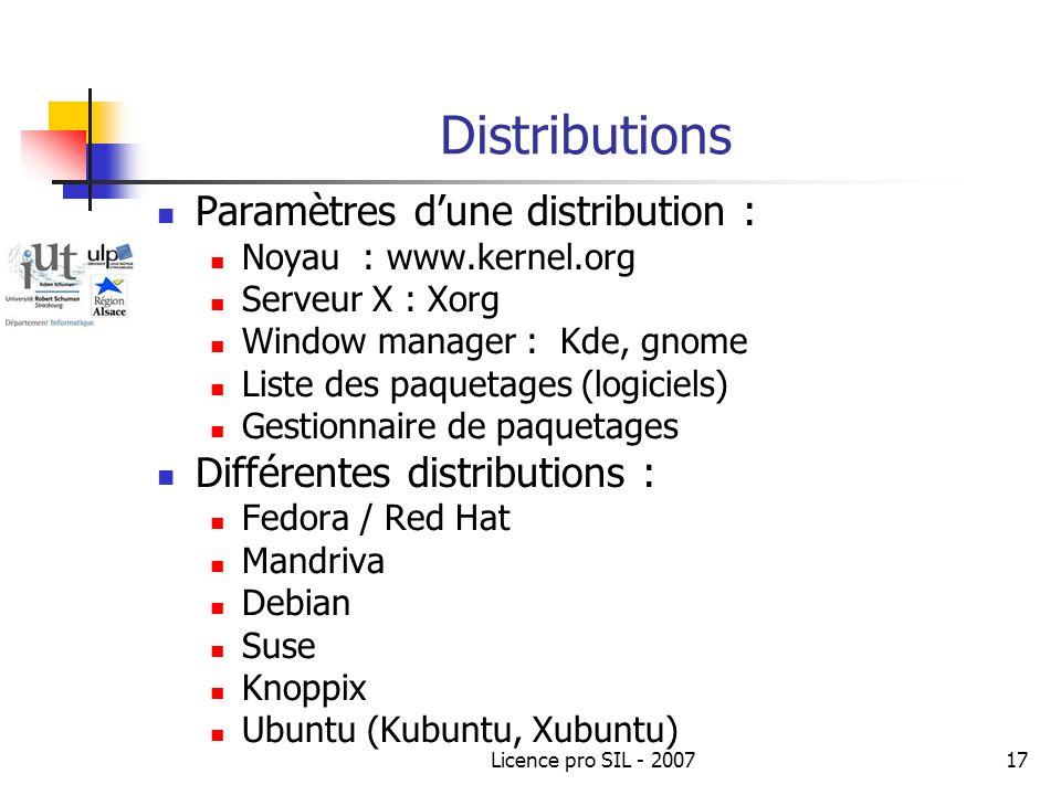 Distributions Paramètres d'une distribution :
