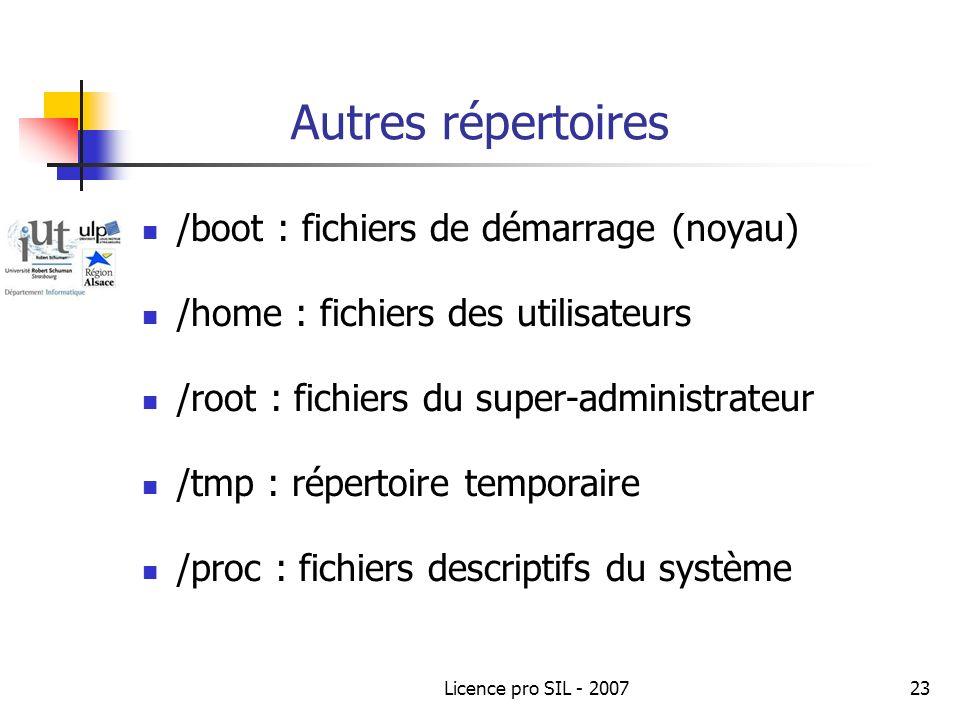 Autres répertoires /boot : fichiers de démarrage (noyau)