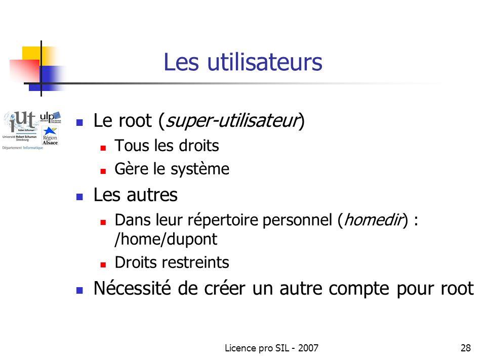 Les utilisateurs Le root (super-utilisateur) Les autres