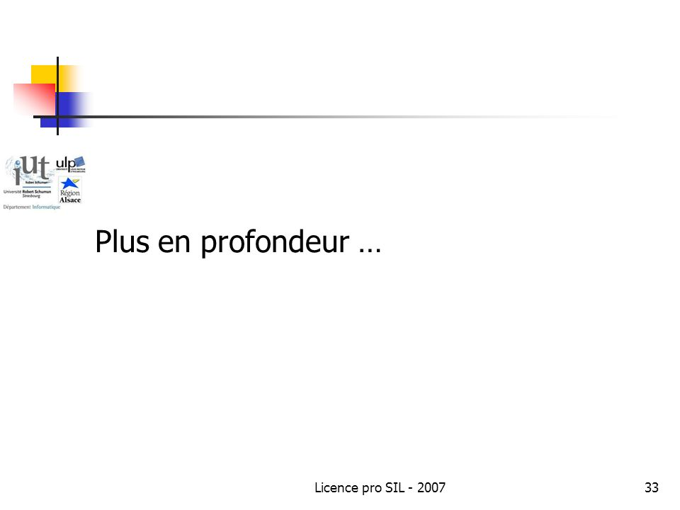 Plus en profondeur … Licence pro SIL - 2007