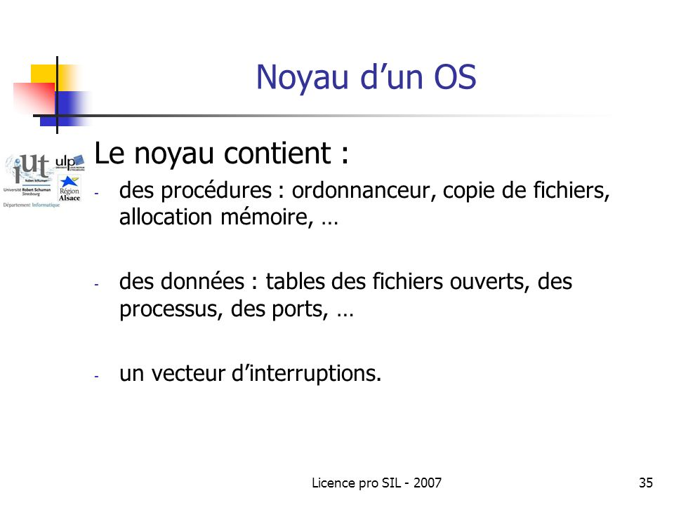 Noyau d'un OS Le noyau contient :