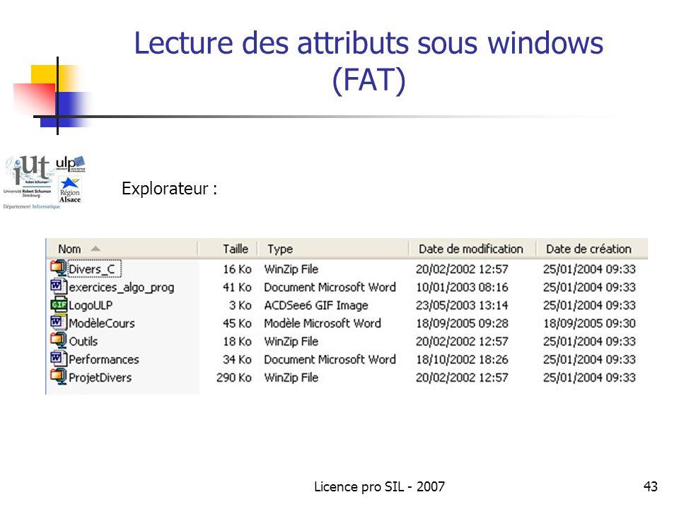 Lecture des attributs sous windows (FAT)
