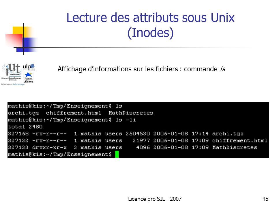 Lecture des attributs sous Unix (Inodes)