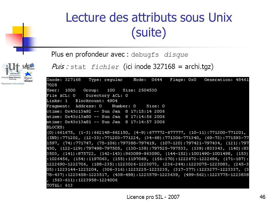 Lecture des attributs sous Unix (suite)