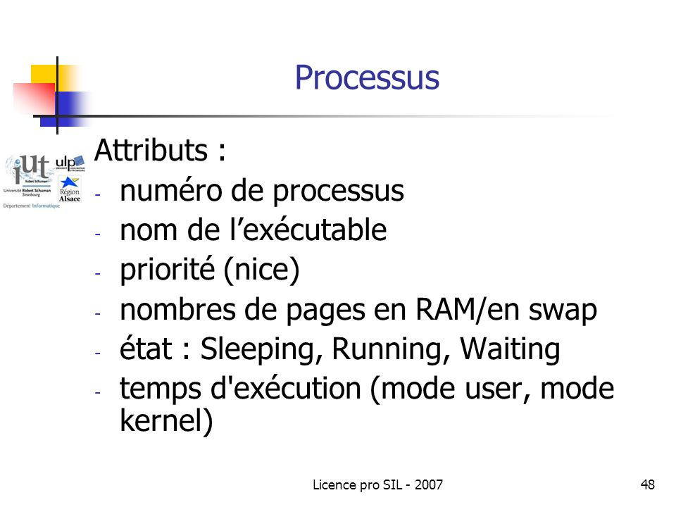 Processus Attributs : numéro de processus nom de l'exécutable