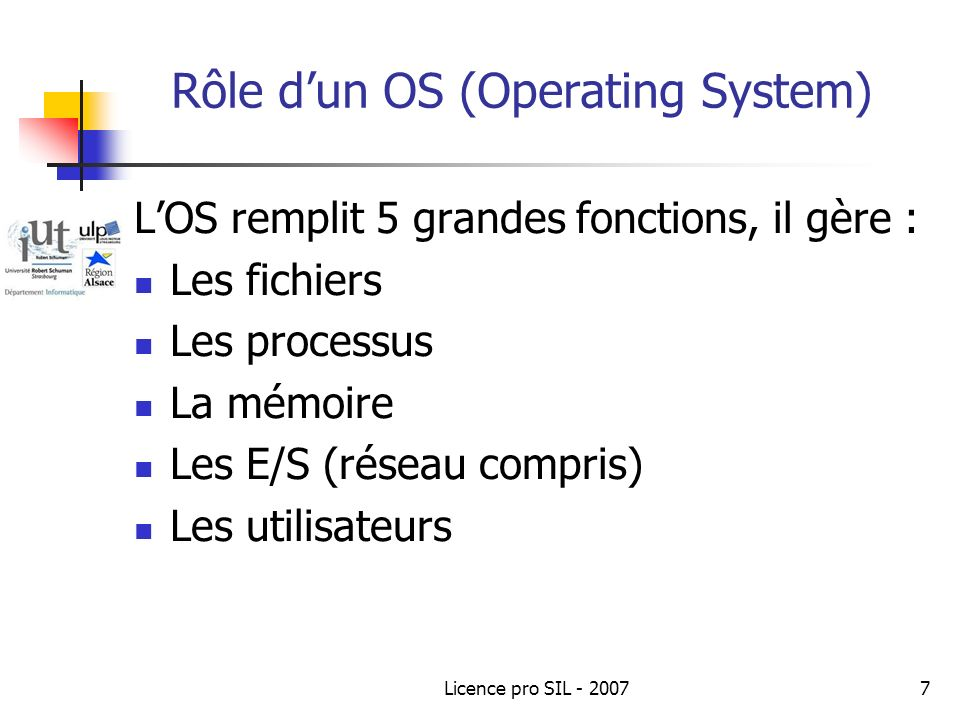 Rôle d'un OS (Operating System)