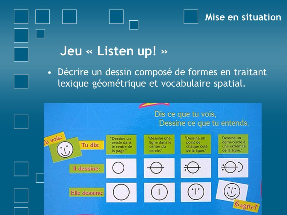 Jeu « Listen up! » Mise en situation