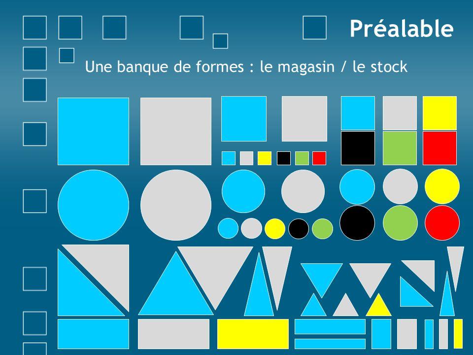 Préalable Une banque de formes : le magasin / le stock