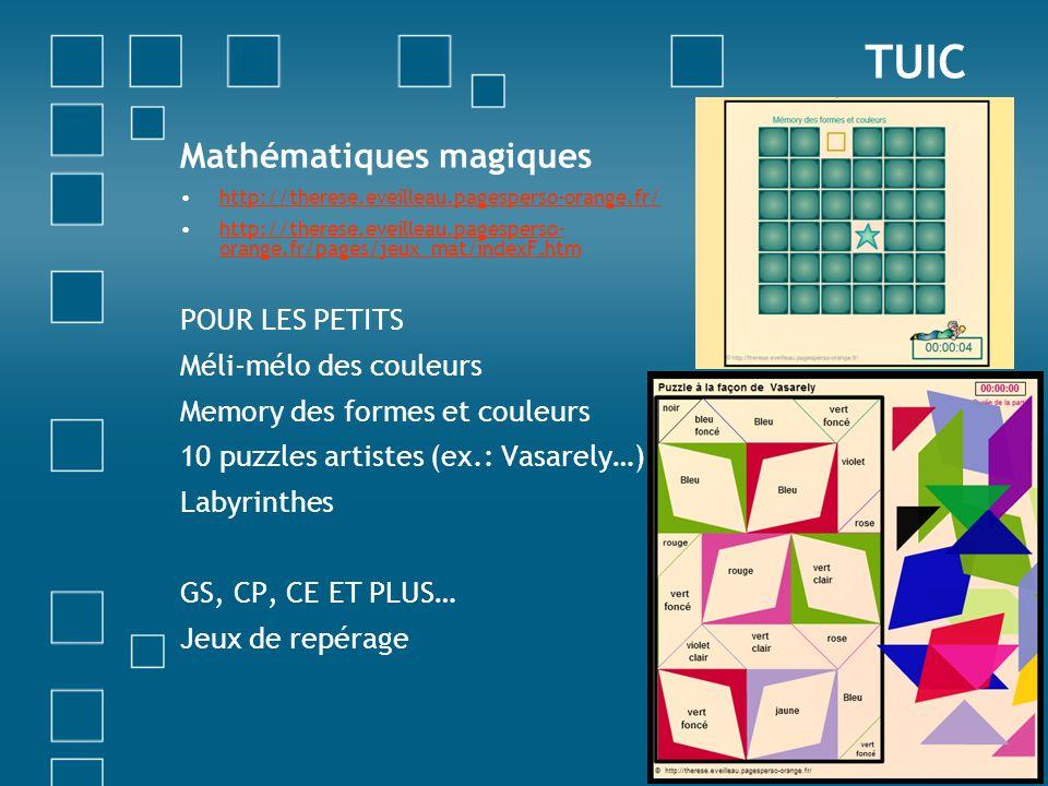 TUIC Mathématiques magiques POUR LES PETITS Méli-mélo des couleurs