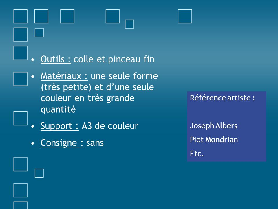 Outils : colle et pinceau fin