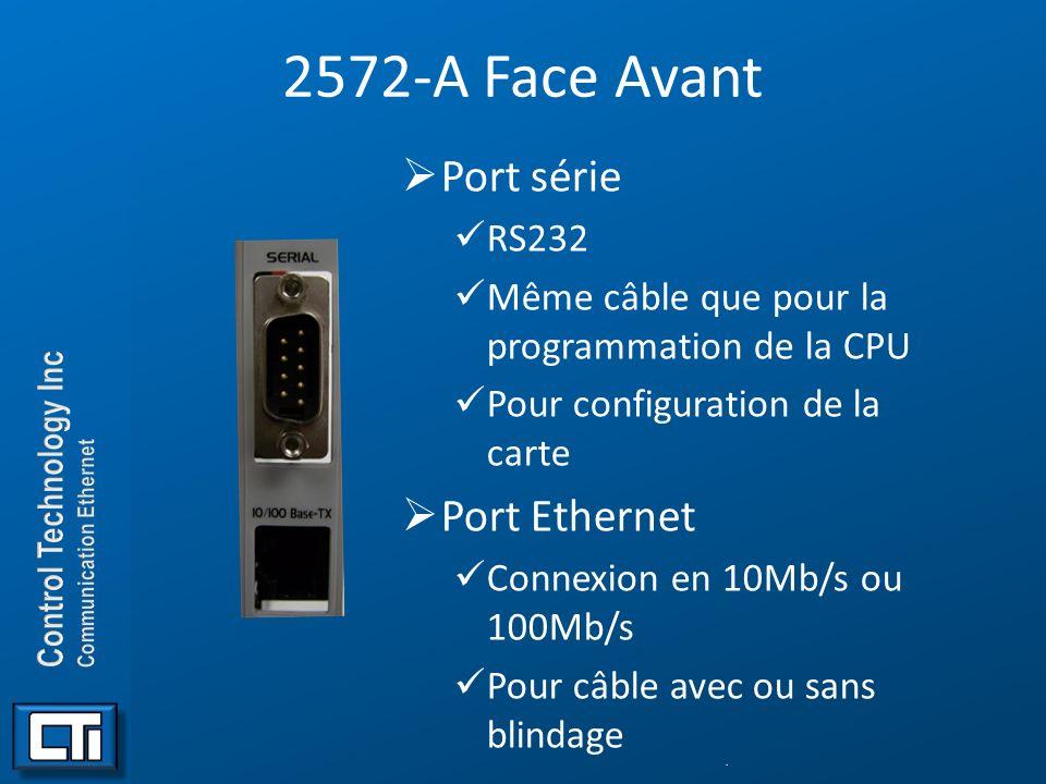 2572-A Face Avant Port série Port Ethernet RS232