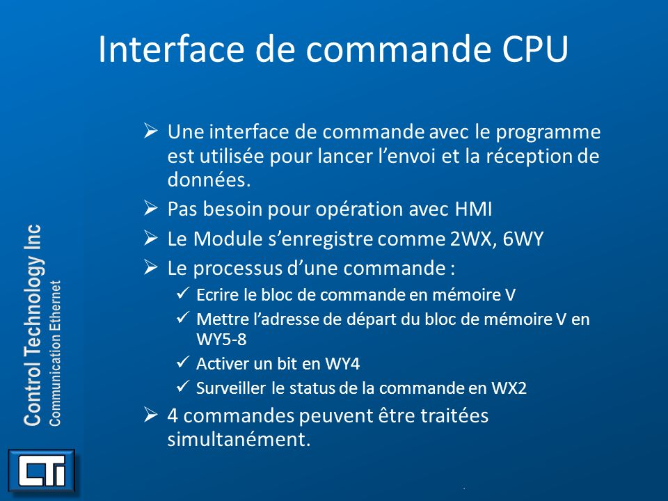 Interface de commande CPU