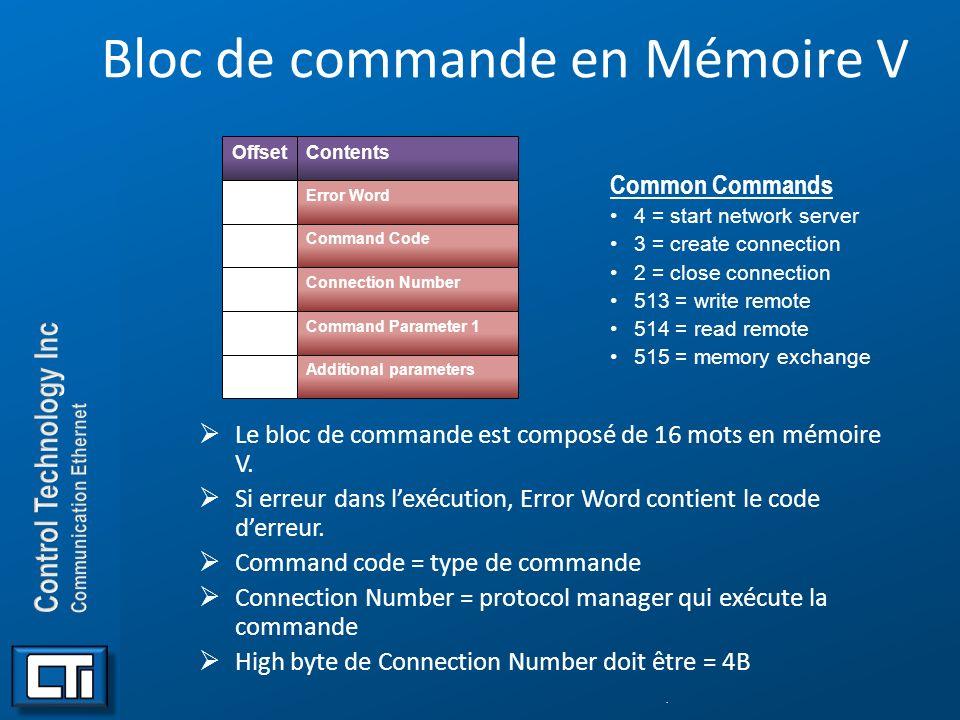 Bloc de commande en Mémoire V