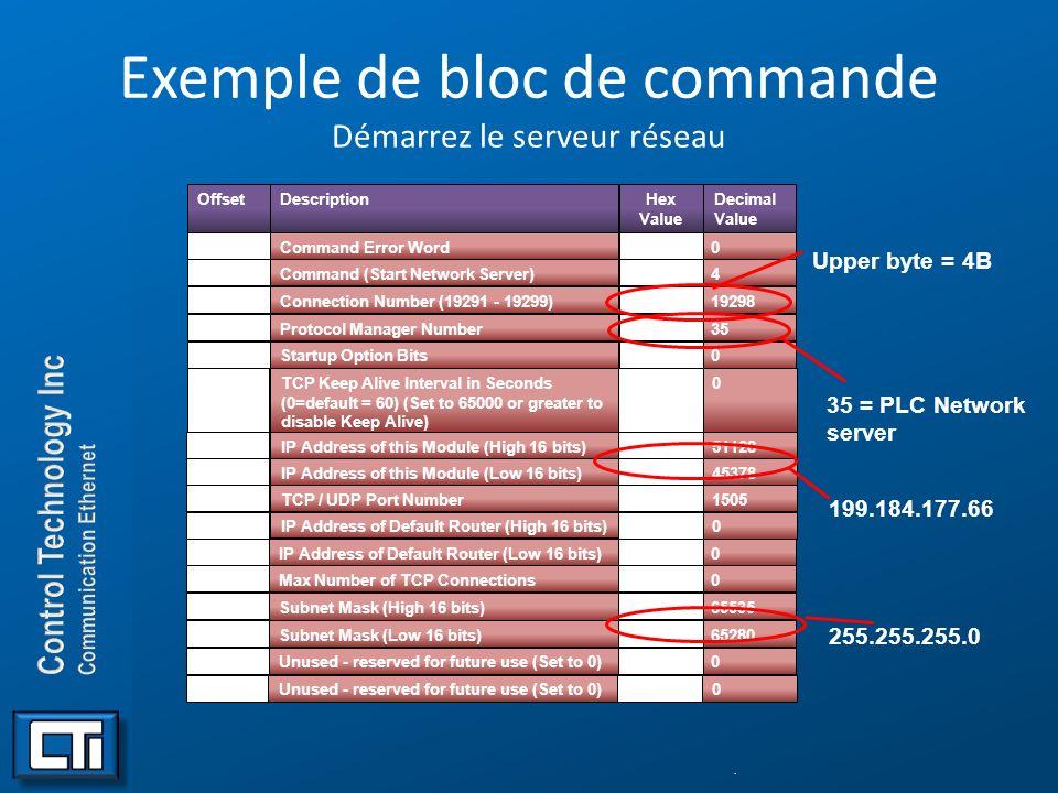 Exemple de bloc de commande Démarrez le serveur réseau