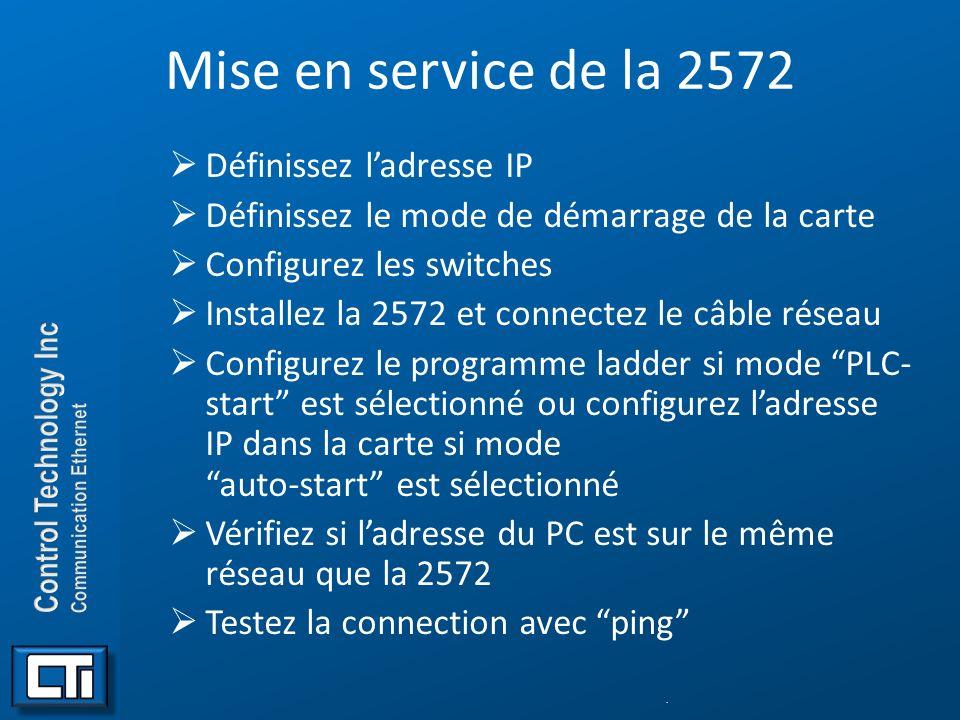 Mise en service de la 2572 Définissez l'adresse IP
