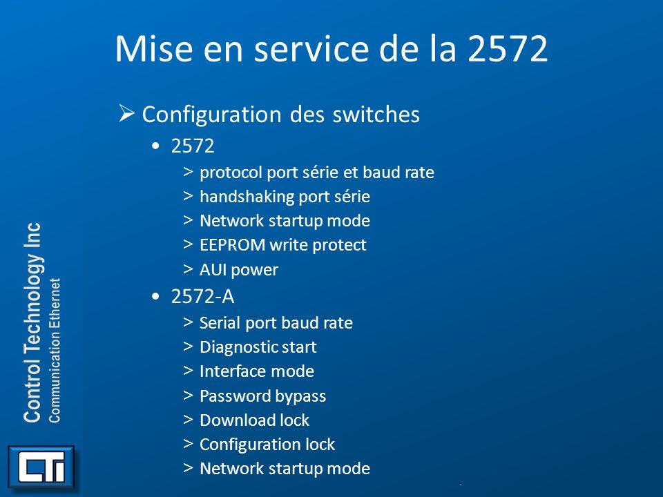 Mise en service de la 2572 Configuration des switches 2572 2572-A