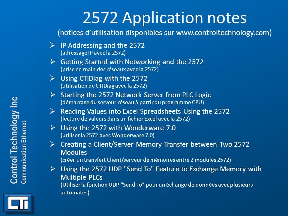 2572 Application notes (notices d'utilisation disponibles sur www