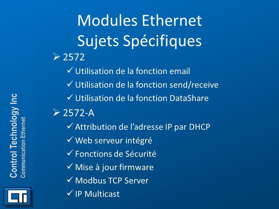 Modules Ethernet Sujets Spécifiques