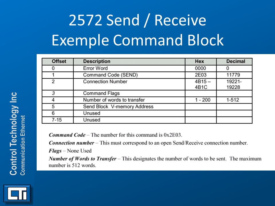2572 Send / Receive Exemple Command Block