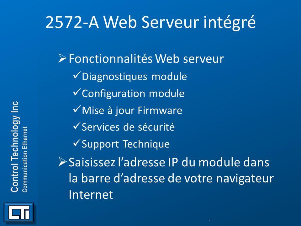 2572-A Web Serveur intégré Fonctionnalités Web serveur