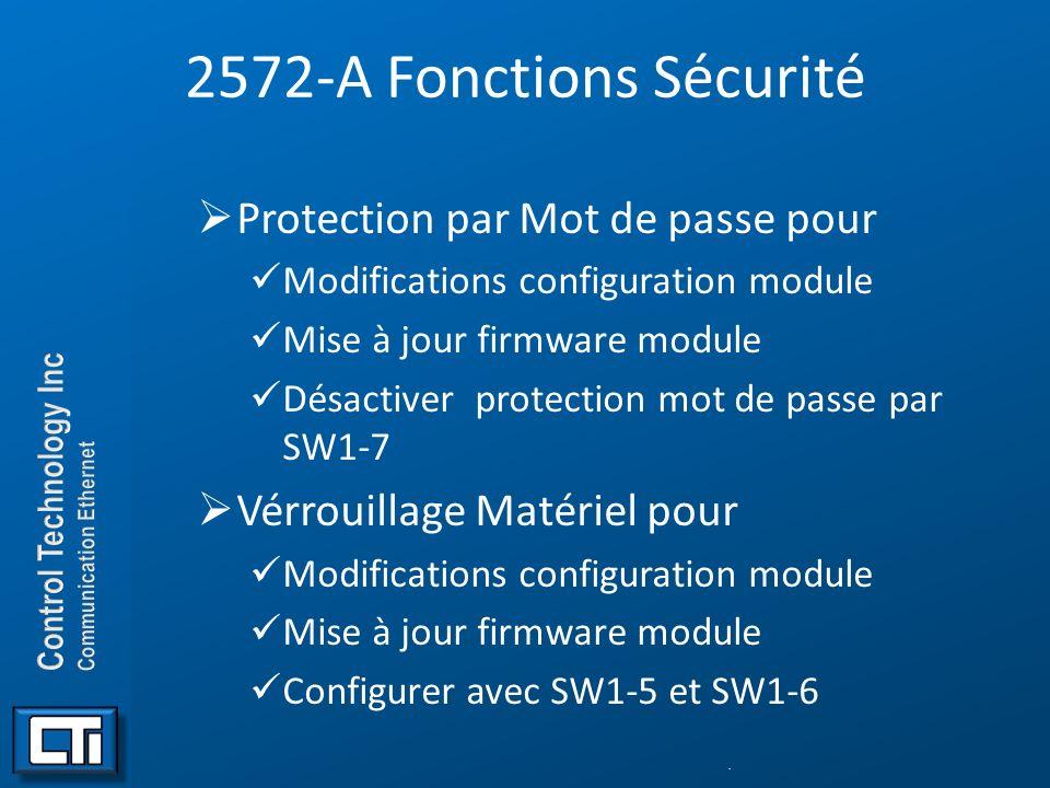 2572-A Fonctions Sécurité Protection par Mot de passe pour
