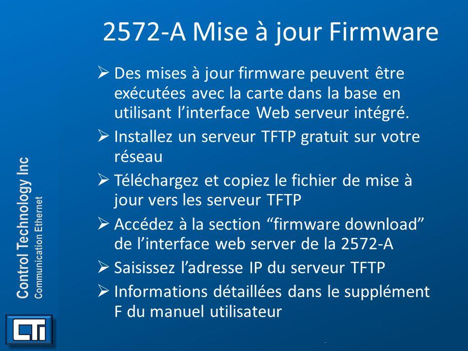 2572-A Mise à jour Firmware Des mises à jour firmware peuvent être exécutées avec la carte dans la base en utilisant l'interface Web serveur intégré.