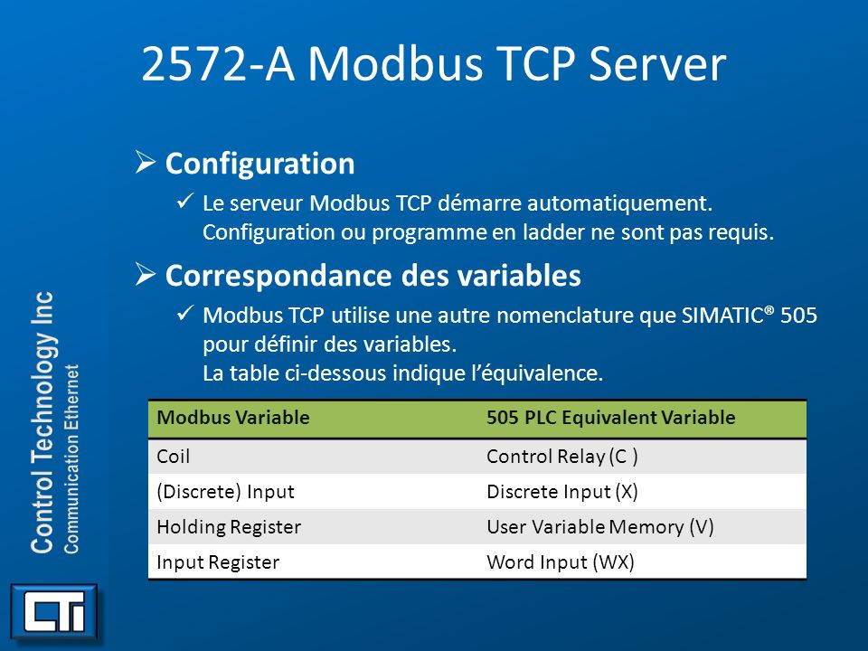 2572-A Modbus TCP Server Configuration Correspondance des variables