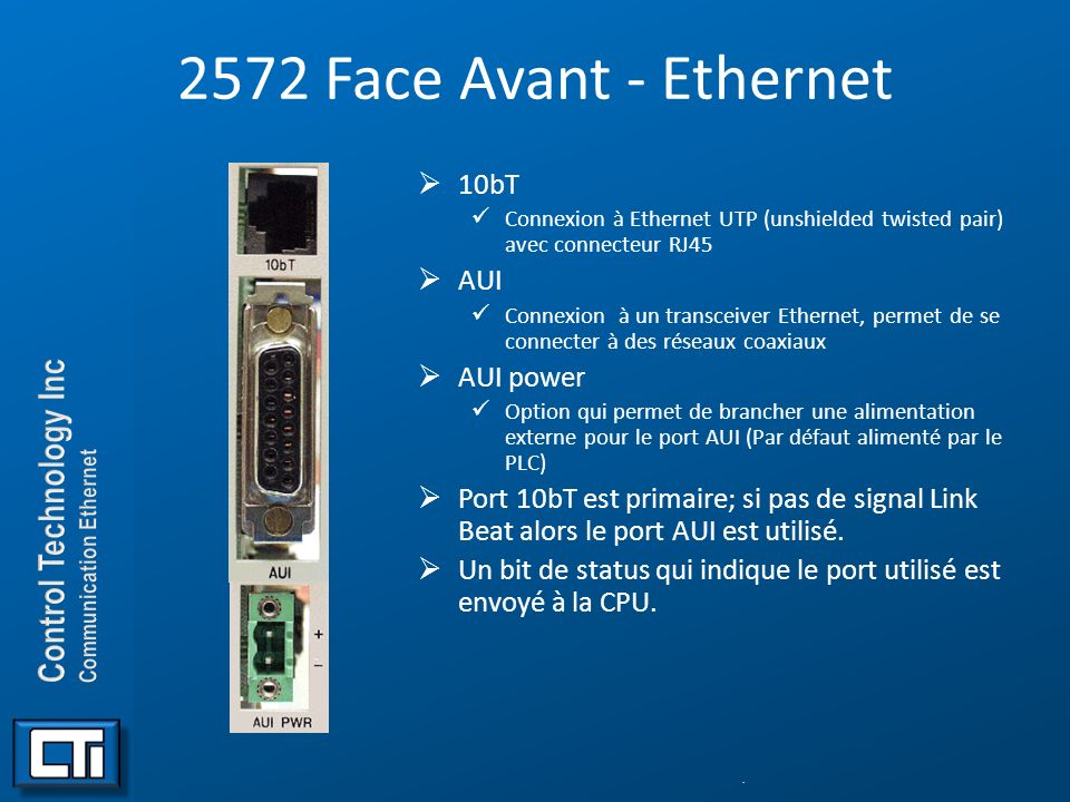 2572 Face Avant - Ethernet 10bT AUI AUI power