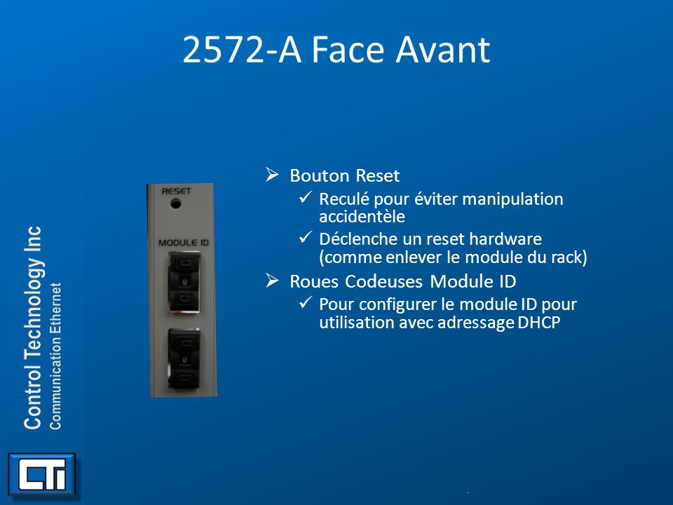 2572-A Face Avant Bouton Reset Roues Codeuses Module ID