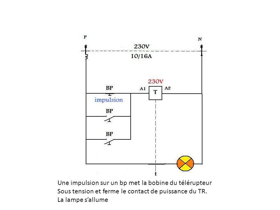 Une impulsion sur un bp met la bobine du télérupteur