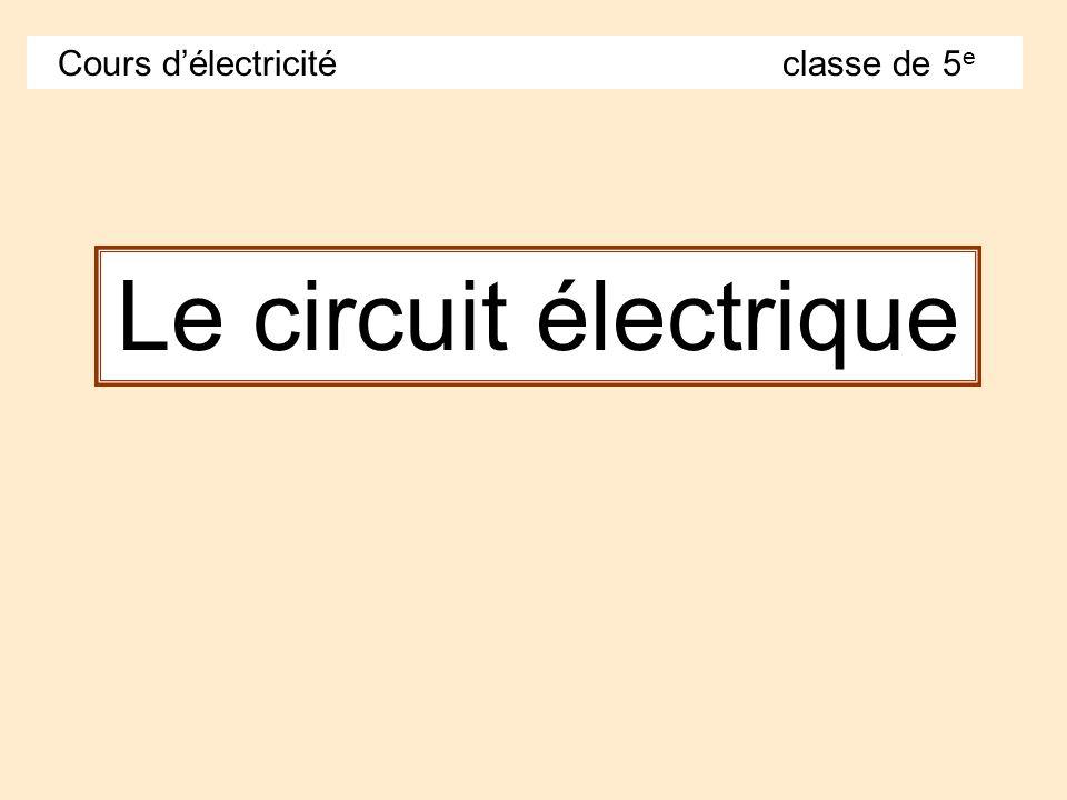 Cours d'électricité classe de 5e