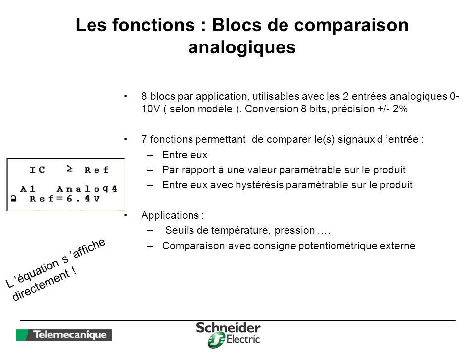 Les fonctions : Blocs de comparaison analogiques