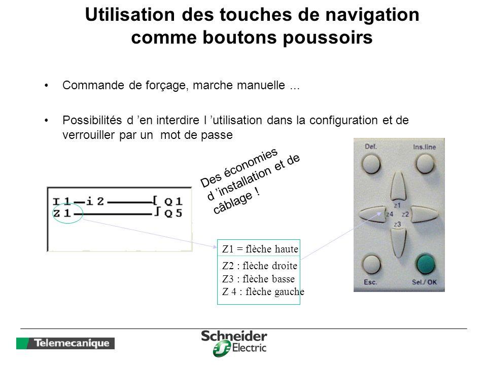 Utilisation des touches de navigation comme boutons poussoirs