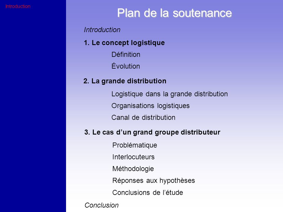 Plan de la soutenance Introduction 1. Le concept logistique Définition