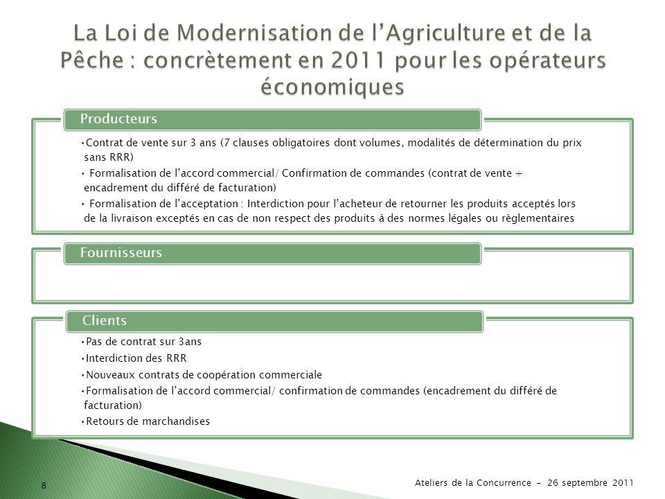 La Loi de Modernisation de l'Agriculture et de la Pêche : concrètement en 2011 pour les opérateurs économiques