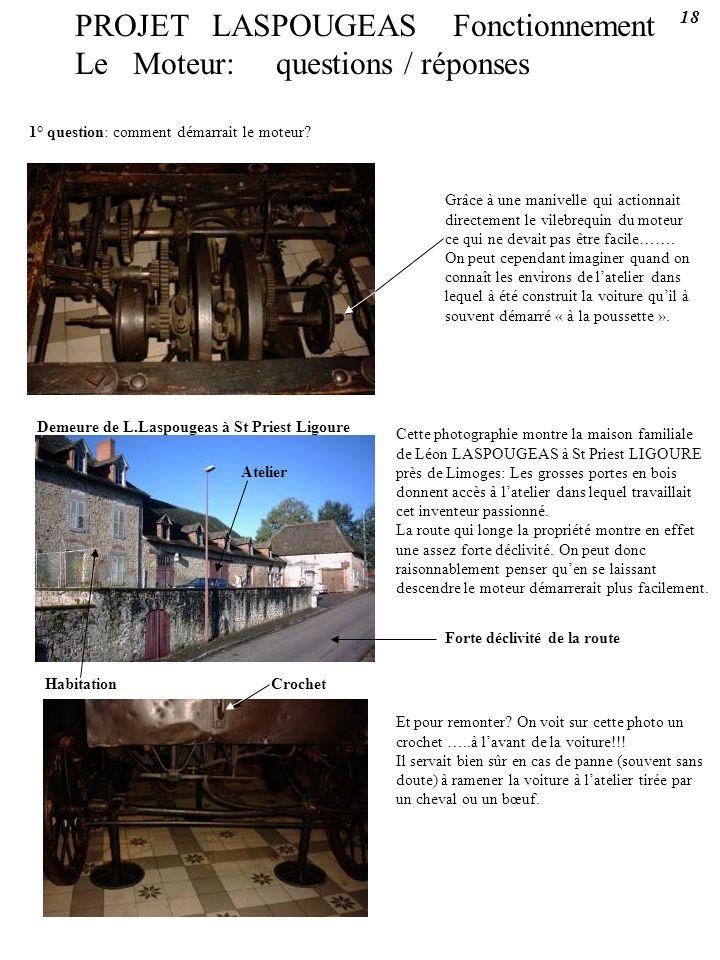 PROJET LASPOUGEAS Fonctionnement Le Moteur: questions / réponses