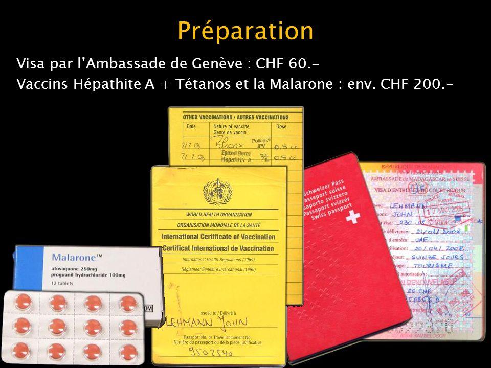 Préparation Visa par l'Ambassade de Genève : CHF 60.- Vaccins Hépathite A + Tétanos et la Malarone : env.