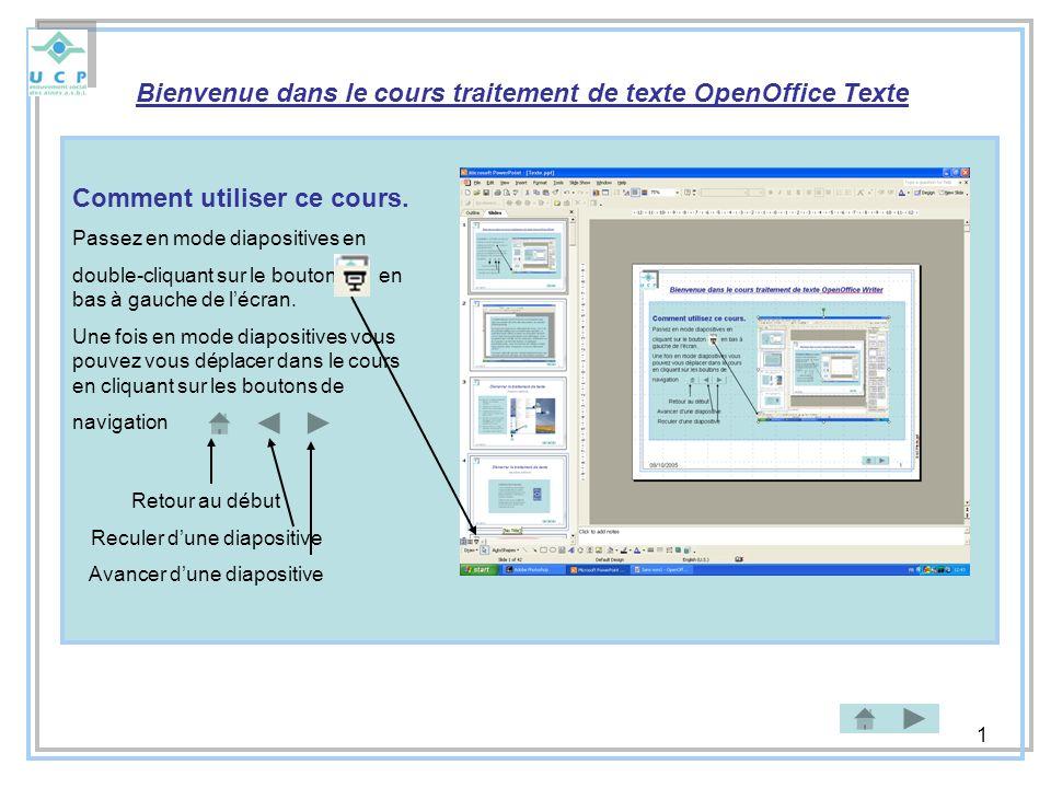 Bienvenue dans le cours traitement de texte OpenOffice Texte