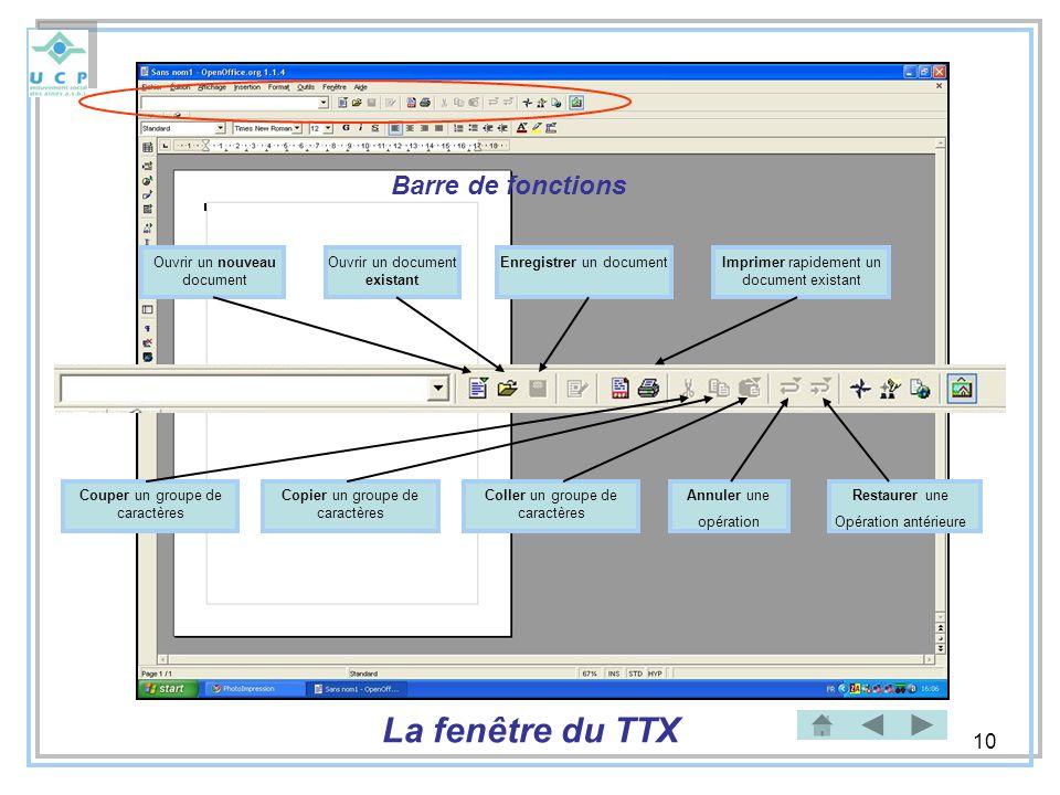 La fenêtre du TTX Barre de fonctions Ouvrir un nouveau document