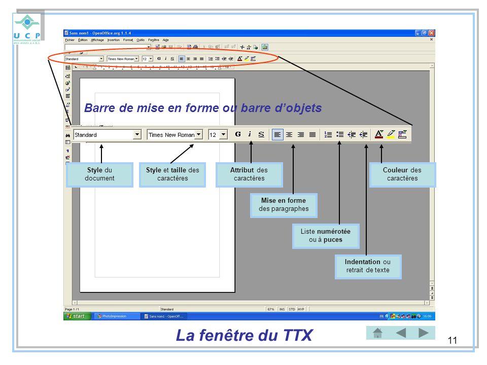 La fenêtre du TTX Barre de mise en forme ou barre d'objets