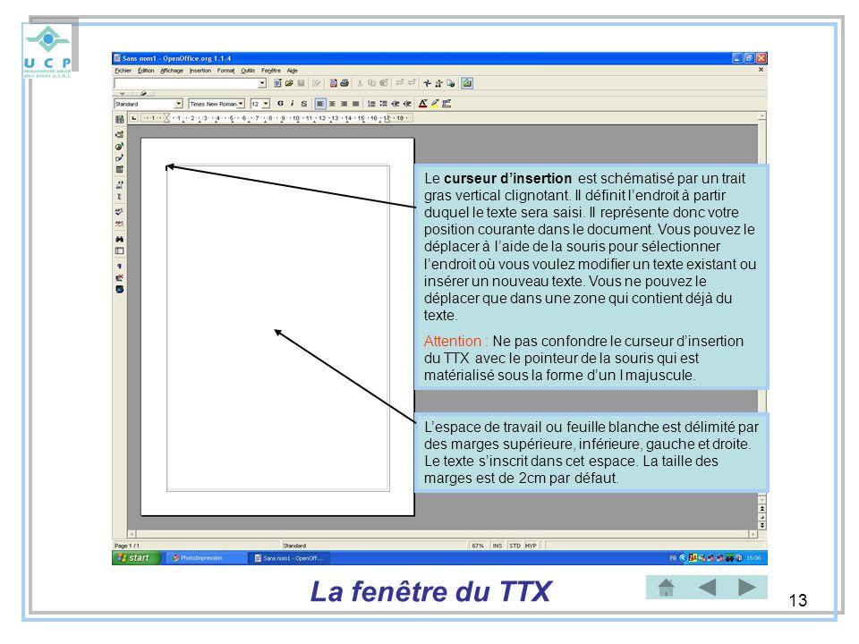 Le curseur d'insertion est schématisé par un trait gras vertical clignotant. Il définit l'endroit à partir duquel le texte sera saisi. Il représente donc votre position courante dans le document. Vous pouvez le déplacer à l'aide de la souris pour sélectionner l'endroit où vous voulez modifier un texte existant ou insérer un nouveau texte. Vous ne pouvez le déplacer que dans une zone qui contient déjà du texte.
