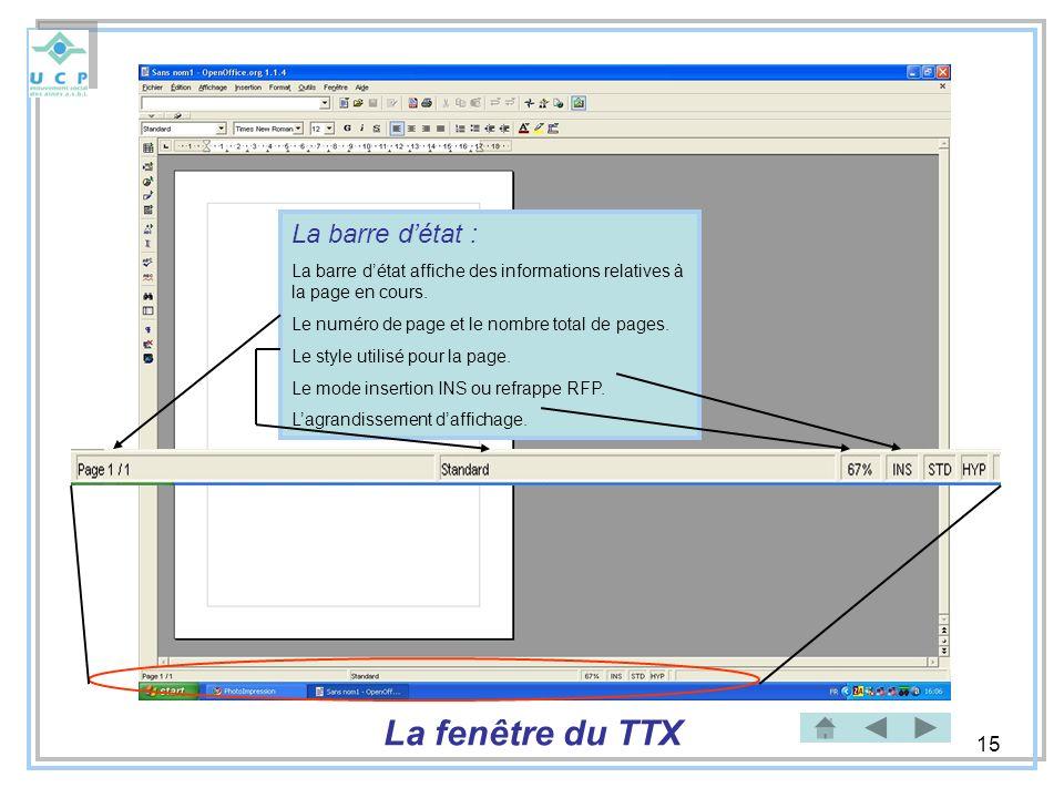La fenêtre du TTX La barre d'état :