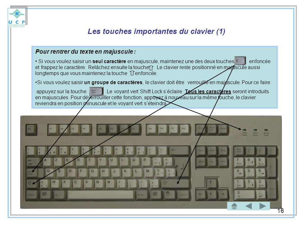 Les touches importantes du clavier (1)