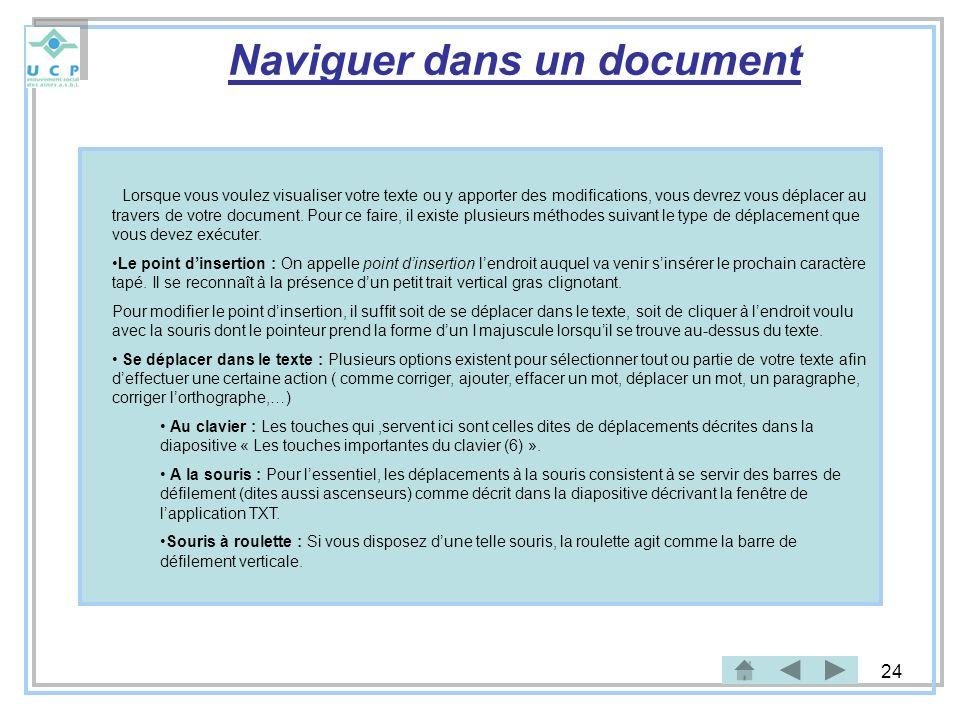 Naviguer dans un document