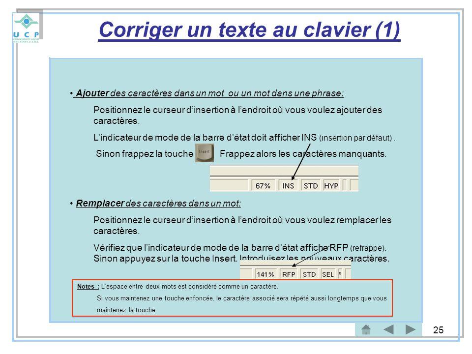 Corriger un texte au clavier (1)